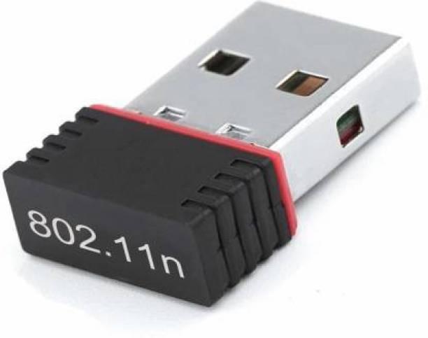vk intergrate Portable High Speed Long Range Nano Wifi Dongle, Connector, Receiver 802.11B/G/N 2.0 Wireless Wi-Fi 2.4GHz Wireless LAN Network Card External For PC Desktop Laptop USB Adapter (Black) USB Adapter