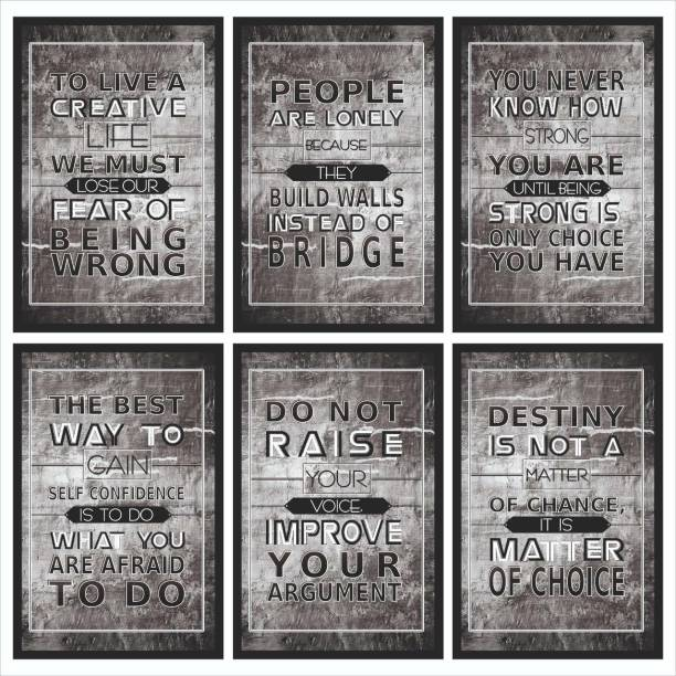 Wrong, Lonely, Strong, Confidence, Argument, Destiny Inspirational Motivational Self Adhesive Wall Posters For Home & Office Decor (Grey) - Set of 6 Paper Print