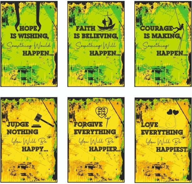 Judge, Forgive, Love, Hope, Faith, Courage Inspirational Motivational Self Adhesive Wall Posters For Home & Office Decor (Green) - Set of 6 Paper Print