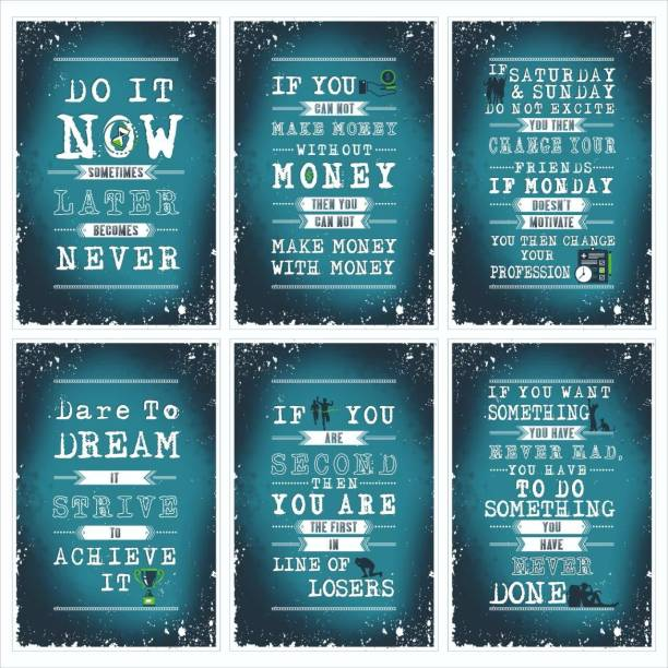 Later, Money, Friends, Achieve, Loser, Do Inspirational Motivational Self Adhesive Wall Posters For Home & Office Decor (Turquoise) - Set of 6 Paper Print