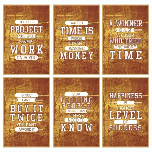 Project, Time, Winner, Afford, Know, Success Inspirational Motivational Self Adhesive Wall Posters For Home & Office Decor (Bronze) - Set of 6 Paper Print