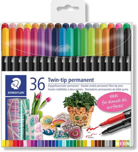 STAEDTLER Permanent pen fibre tip 3187 TB36 - 2 tips in 36 colors