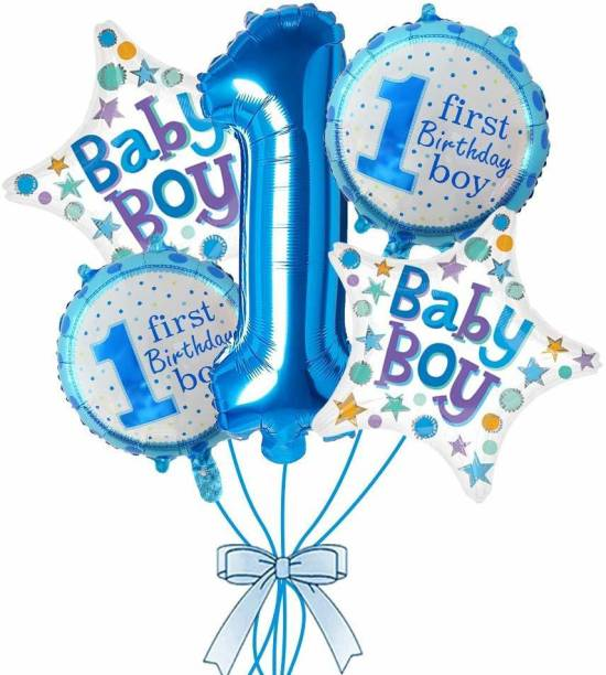 Hotkei Printed Set of 5 Balloons of Baby Boy 1st First Happy Birthday Balloon item set with 1 One Number, 2 Star Shape Baby Boy , 2 First Birthday Boy Printed Celebration Party Decoration item Prop Balloons Kit for Children Kids Balloon