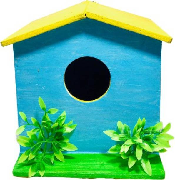 OrchidWala Handmade Wooden Hanging Colorful Bird Nest House with Artificial Plant Decoration - (6x6x6 Inch) Bird House