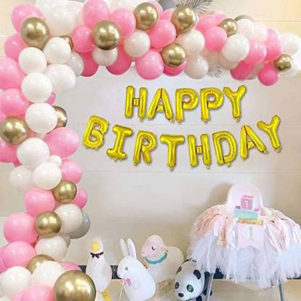 Party Hub Solid Solid Happy Birthday Letter Gold Foil Balloon Set of 63 Balloon ( Gold, Pink, White, Gold ) Balloon