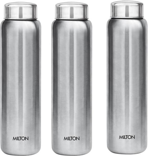 MILTON Aqua Stainless Steel Fridge Water Bottle 930 ml, Set Of 3, Silver 930 ml Bottle