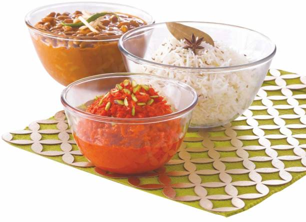 BOROSIL Mixing Bowl Sets-500 ml +900 ml +1.3 L Glass Serving Bowl