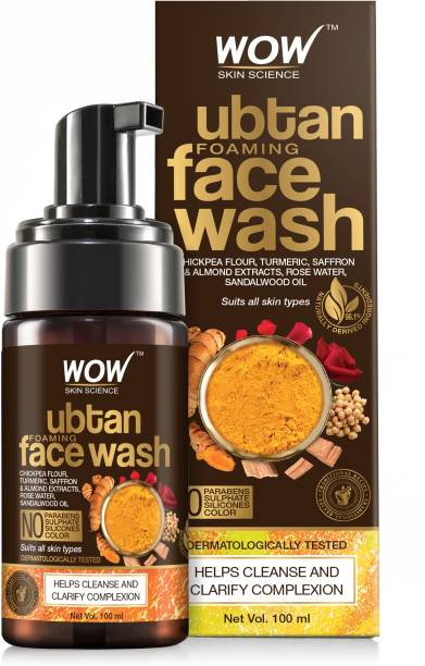 WOW SKIN SCIENCE Ubtan Foaming  for Deep Cleansing - with Chickpea Flour, Turmeric, Saffron & Almond Extracts - No Parabens, Sulphate, Silicones & Color, 100 ml Face Wash