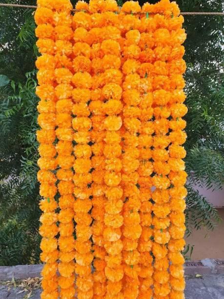 Marwari Arts Toran Bandarwal Pack of 5 Genda Phool Flower Garland Door Hanging Orange Artificial Flowers Marigold Fluffy Garlands Home Mandir Pooja Room Temple Diwali Decoration Plastic Garland