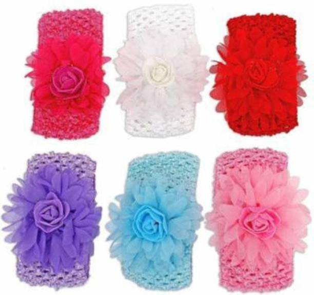 Gogi Enterprises Pack of 6 Multicolor Flower Elastic Head Hair Bands for Babies - Soft Head bands for Infants, Kids and Toddlers Hair Band