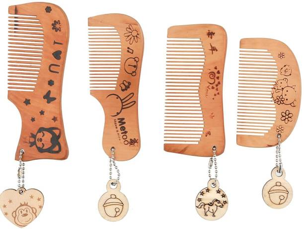 ROZIA Handmade Wood Broad Tooth Anti-Dandruff Comb For Men And Women