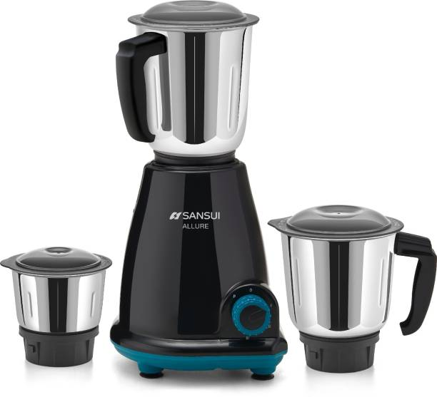 Sansui Pro Home Allure 500 W Mixer Grinder (3 Jars, Black, Blue)