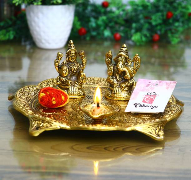Chhariya Crafts Pooja Thali With Laxmi Ganesh Idol And Diya For Home And Office Aluminium