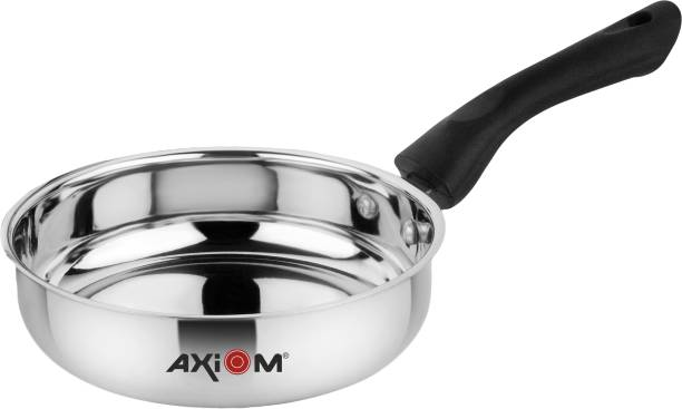 AXIOM Fry Pan 1500 ML Stainless Steel Induction & Gas Compatible (Heavy Gauge Frying Pan/Saucepan with Bakelite Handle) Fry Pan 21.5 cm diameter