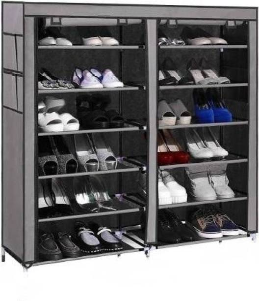 Ketsaal 12 Layer Multi Utility Collapsible Shoe Rack With Cover Metal Collapsible Shoe Stand