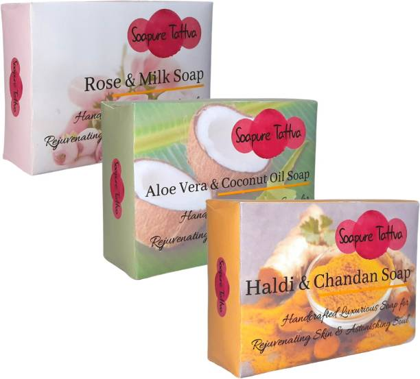 Soapure Tattva Handmade Herbal Soaps for Natural Skin Care Combo Pack - Rose & Milk, Aloe Vera & Coconut Oil and Haldi & Chandan Soap (Pack of 3)