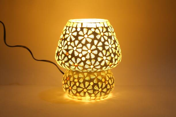 zsquarehp Mosaic Style Dome Shaped Glass Table Lamp (Multicolour) Bulb not Included Table Lamp