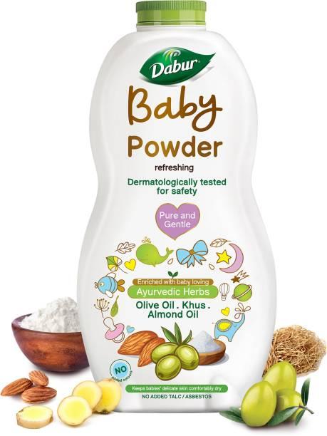Dabur Baby Powder No added Talc & Asbestos  Contains Oat Starch  No Parabens & Phthalates