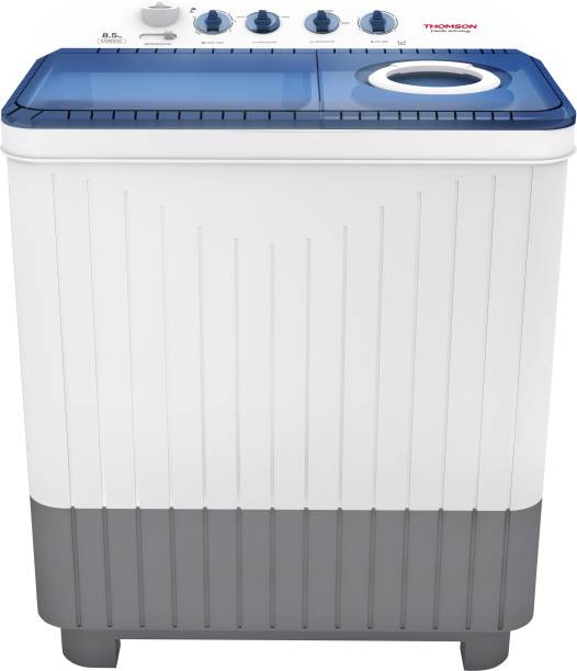 Thomson 8.5 kg 5 Star Rating, Smart Pro Wash Technology Semi Automatic Top Load White, Blue, Grey