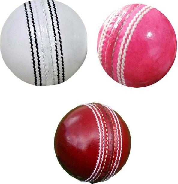 SSI Red Pink White Combo Cricket Leather Ball