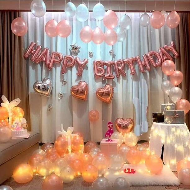 CherishX.com Solid Happy Birthday Kit with Rose Gold Metallic Balloons Fairy Lights and Balloon Pump - 121 PC Letter Balloon