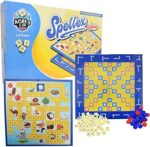 Planet of Toys 2-in-1 Junior Spellex Crossword Educational Board Game For Kids Word Games Board Game