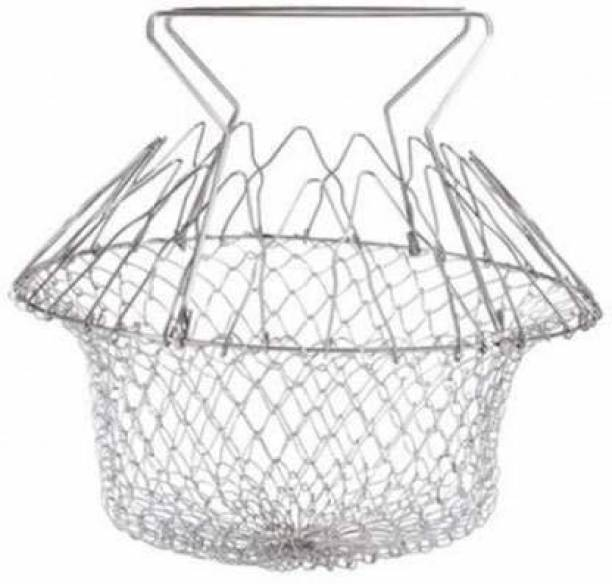 MAHI ENTERPRISE Chef Foldable Steam Basket Collapsible Deep Frying Basket