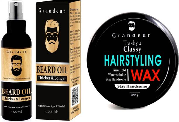 Grandeur Beard Growth oil 100 ml And Hair Styling Wax 100g | Hair & Beard Grooming Kit |