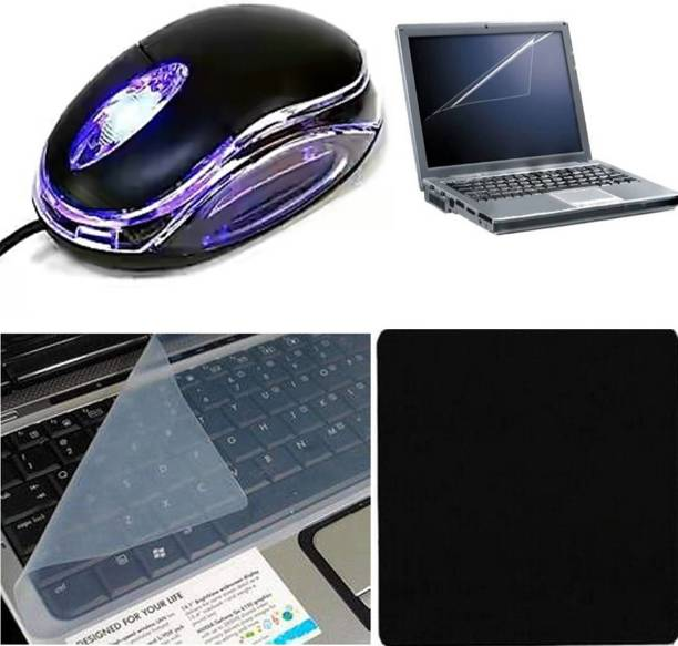 D.V TECH EXCLUSIVE PREMIUM PACK OF WIRED MOUSE, LAPTOP SCREEN GUARD ,KEYBOARD PROTECTOR AND MOUSEPAD COMBO PACK OF 4 PCS Combo Set