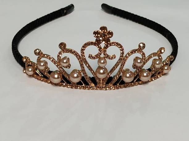 imtion Copper Crystal Rhinestone Princess Hair Tiara Crown for Girls and Kids Hair Band