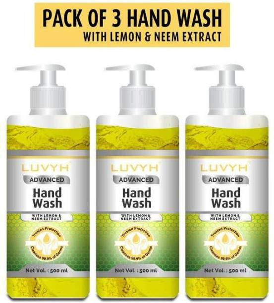 LUVYH Hand Wash with Neem & Lemon Extract For Complete Protection|Cleanses 99.9% of Germs - Pack of 3x500 ml Hand Wash Pump Dispenser