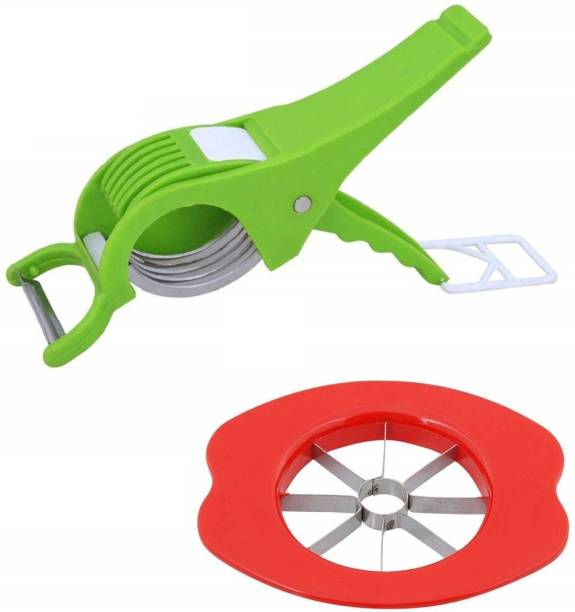 network 95242 Combo of Apple Cutter with 5 Stainless Steel Blades and Multiple Blade Veg Cutter Multicolor Kitchen Tool Set