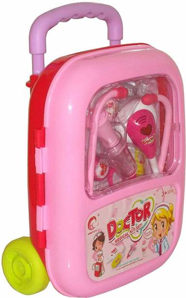 The SaGa Empire Doctor Medical Kit Pink Trolley Suitcase with Light and Sound Effects
