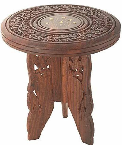 CART OF CRAFTS Wooden Foldable Handmade Table with 3 Legs Carving Brass Folding Stool 9 inch Stool