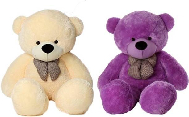 ToyKing Combo Offer 3 Feet Soft & Cute Teddy Bear Pack of 2 (Cream,Purple)  - 86 cm