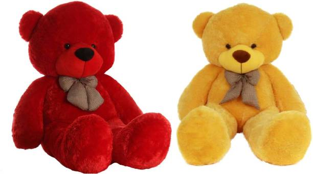 ToyKing Combo Offer 3 Feet Soft & Cute Teddy Bear Pack of 2 ( Red,Yellow)  - 86 cm