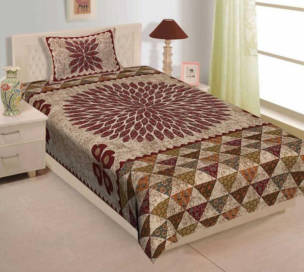 Rajasthani Traditional 300 TC Cotton Single Jaipuri Prints Bedsheet