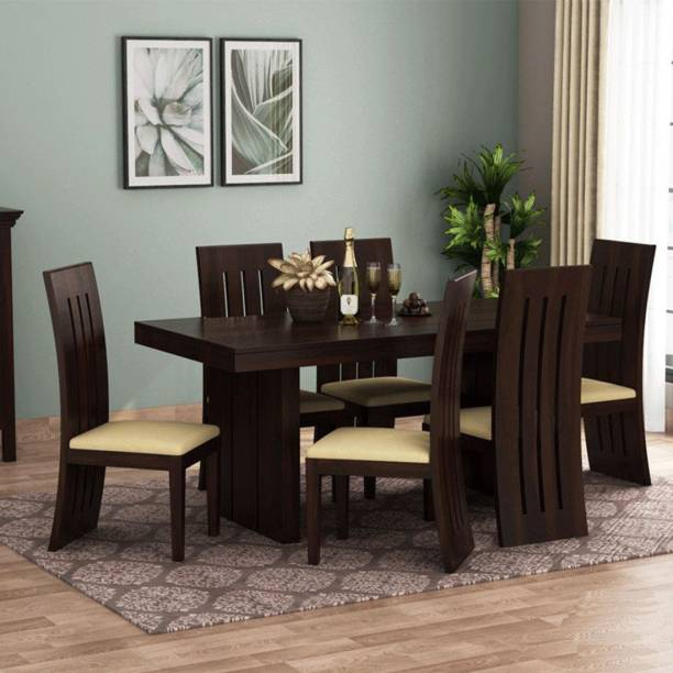 Kendalwood Furniture Premium Quality Dining Table with 6 Chair Solid Wood 6 Seater Dining Set