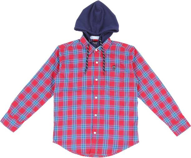 Palm Tree Baby Boys Checkered Casual Red Shirt