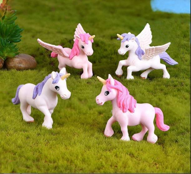 Chocozone Pack of 4 Cute Unicorn Miniatures Garden Decoration Gifts for Kids & Girlfriend