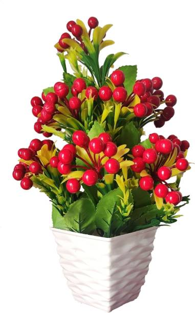 BK Mart Beautiful Artificial Cherry Flower Plant With Pot - Superb Quality Natural Looking Red Cherry 14 inch Artificial Plant  with Pot