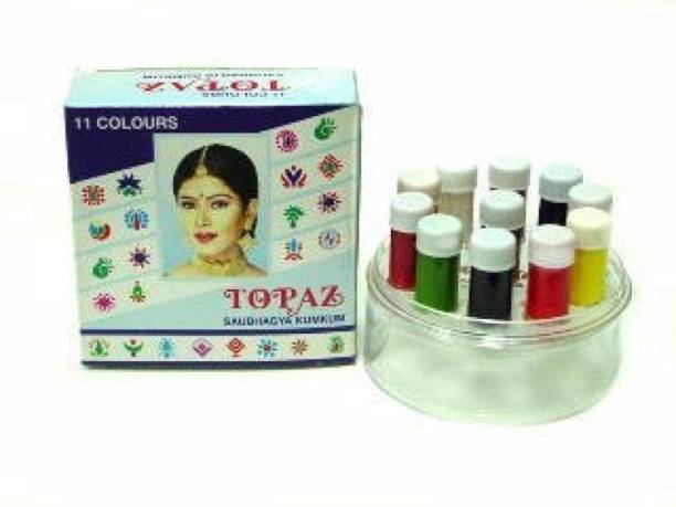 TOPAZ Liquid Kumkum Bindi Girls and Women Multicolor Bindis