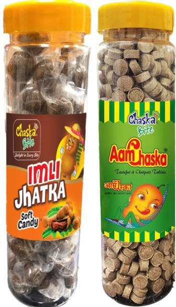 CHASKA BITE  Aam Chaska Imli Jhatka Imli Pop Sour and Tangy Candies Dry Amchoor Tamarind Pack of 2 400 gm Each CHATPATI Sour Candy