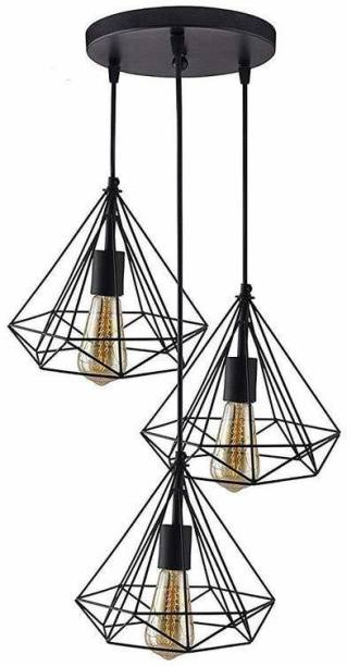 Lighthouse 3 Lights Round Cluster Chandelier Black Diamond Hanging Pendant Light with Braided Cord (Bulb Not Included)(set of 1 piece) Pendants Ceiling Lamp