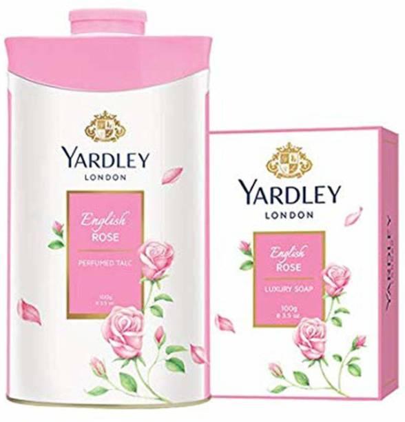 Yardley London English Rose Luxury Soap with English Rose Perfumed Talc