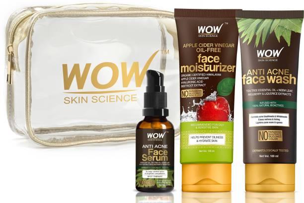 WOW SKIN SCIENCE Pore Clarifier Travel Essentials with Anti Acne Serum + Apple Cider Vinegar Moisturizer + Anti Acne Face wash Tube