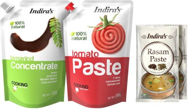 Indira Tamarind Concentrate 150g (1 No) + Tomato Paste 200g (1 No) + Pepper Rasam Paste 50g (2 Nos) Combo