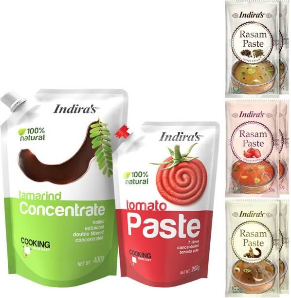 Indira Tamarind Concentrate 400g (1 No) + Tomato Paste 200g (1 No) + Pepper Rasam Paste 50g (2 Nos) + Tomato Rasam Paste 50g (2 Nos) + Tamarind Rasam Paste 50g (2 Nos) Combo