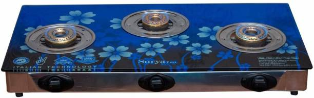 Online SURYA Fast Piezo Auto Ignition Heavy Brass Coated Iron Burner, 3 Burner Gas Stove - Blue Flame - Toughened Glass Cook Top - Stainless Steel Frame Warranty: 6 Months, Blue Color Glass, Steel Automatic Gas Stove