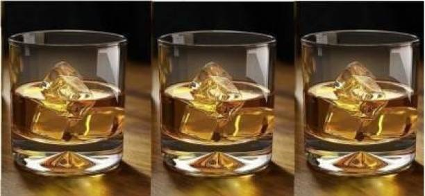 SARDAR CREATION (Pack of 3) Premium Whiskey Rocks Glasses for Vodka Bourbon Whisky Scotch Liquor (Set of 3, 300 ML) Glass Set